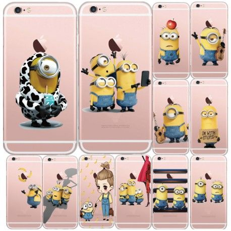 iPhone 5 5s e 6 6s cattivissimo me giallo minion design trasparente Cover capa fundas