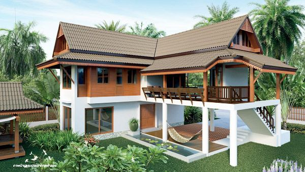 แบบบ้านไทยประยุกต์ทรงใต้ถุน ออกแบบโปร่งโล่ง เหมาะสำหรับสร้างในพื้นที่ชนบท | NaiBann.com