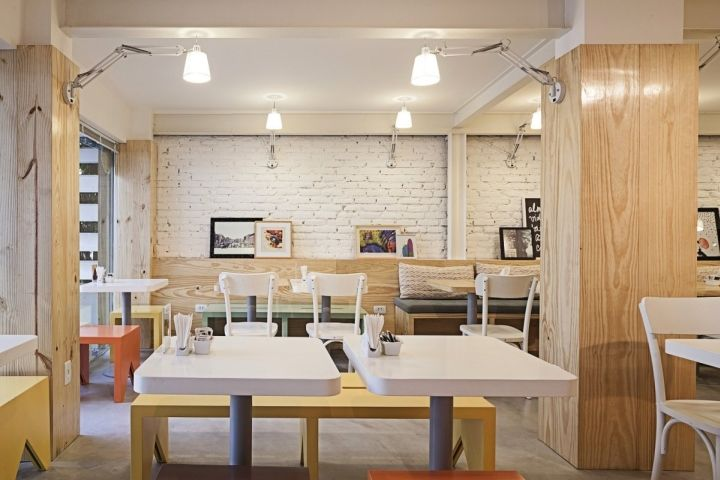 Padarie Café by CRIO Arquiteturas, Porto Alegre   Brazil cafe I love the colors of the all the furnishings to provide that pastel POP in the space