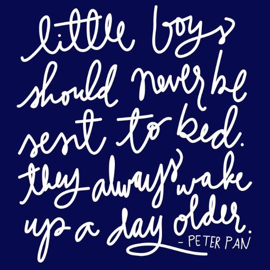 Peter Pan Quote- White Script on Navy Art Print