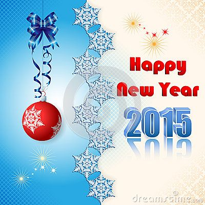 Background with Happy New Year text and snow flakes divider