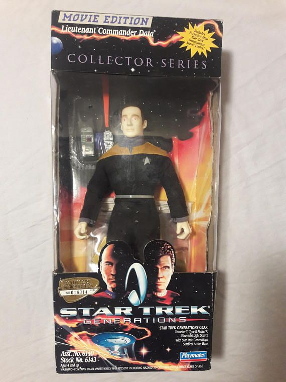 This is a 1994 Star Trek Generations Movie Edition Lieutenant Commander Data Action Figure in great vintage condition. This this is still new in the box never been taken out and played with, still comes with all original pieces, box has light cosmetic wear but toy is in mint condition making this overall in great condition.