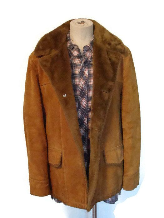 Vintage Suede Ranch Coat 1970s Faux Fur Lined Rugged