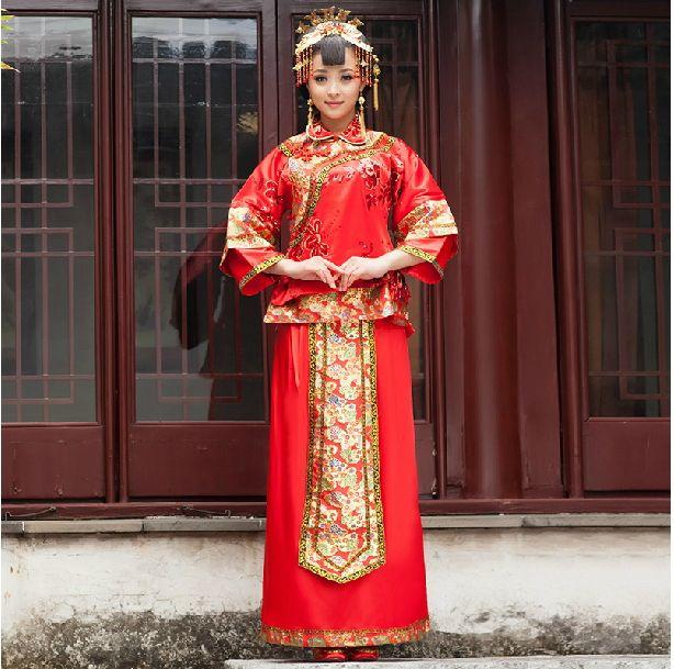 中式结婚礼服新娘秀禾服婚礼敬酒服龙凤褂长袖婚纱旗袍红色秀和服