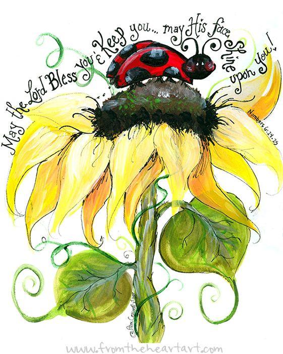 Ladybug and Sunflower Print (Numbers 6:24-25)