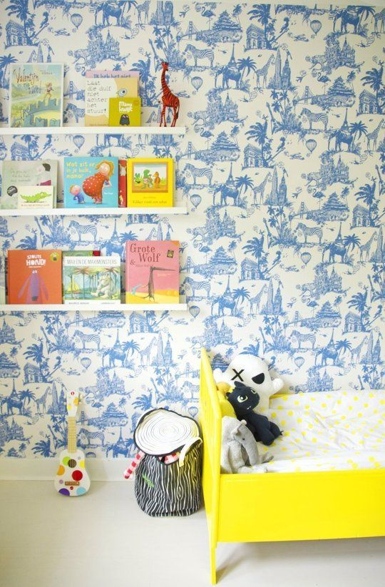 Gorgeous wallpaper in Oscar's Bright, Bold Abode Kids Room Tour
