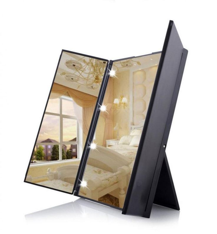 Make Up Mirror Stand Vanity Tri-Fold 8 LED Button Battery Powered Travel Compact #MakeUpMirrorStand