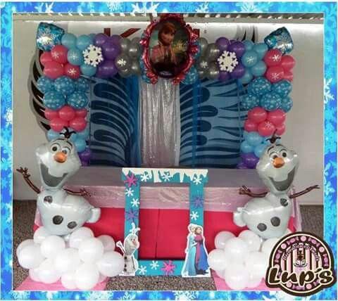 Cuadro de globos con marco de frozen decoraciones de - Decoraciones con globos ...