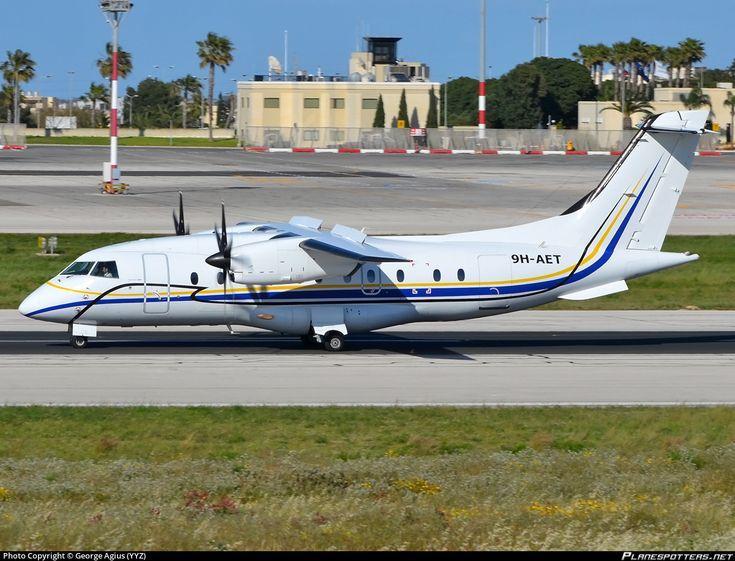 Medavia - Mediterranean Aviation Dornier 328-110 9H-AET aircraft, skating at Malta Luqa International Airport. 16/04/2014.