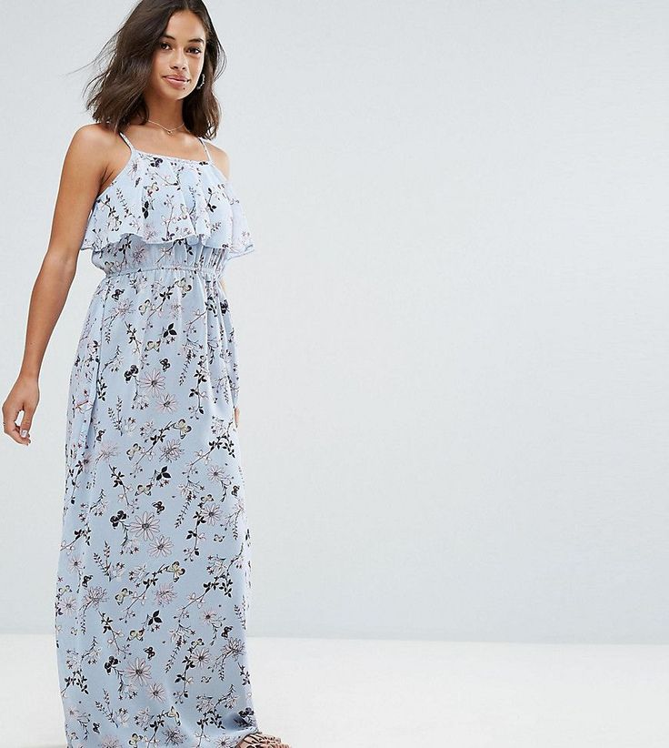Get this Yumi Petite's casual dress now! Click for more details. Worldwide shipping. Yumi Petite Frill Top Maxi Dress in Blossom Print - Blue: Petite maxi dress by Yumi Petite, Printed woven fabric, High neck, Cropped frill overlay, Adjustable straps, Stretch waist, Relaxed fit, Machine wash, 100% Polyester, Our model wears a UK 8/EU 36/US 4. (vestido informal, casual, informales, informal, day, kleid casual, vestido informal, robe informelle, vestito informale, día)