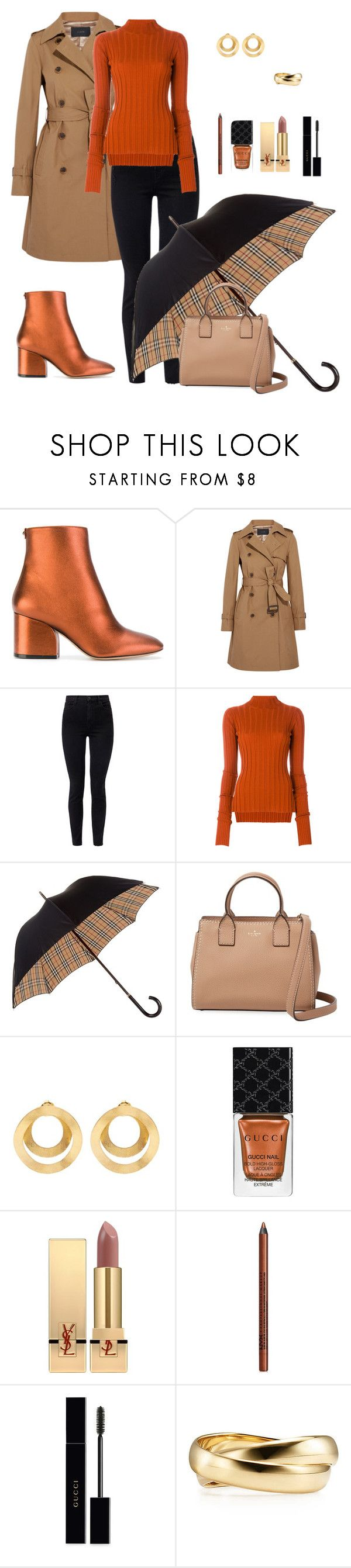 """""""Untitled #862"""" by ladyasdis ❤ liked on Polyvore featuring Salvatore Ferragamo, J.Crew, J Brand, Theory, Burberry, Kate Spade, Anissa Kermiche, Gucci, Yves Saint Laurent and NYX"""