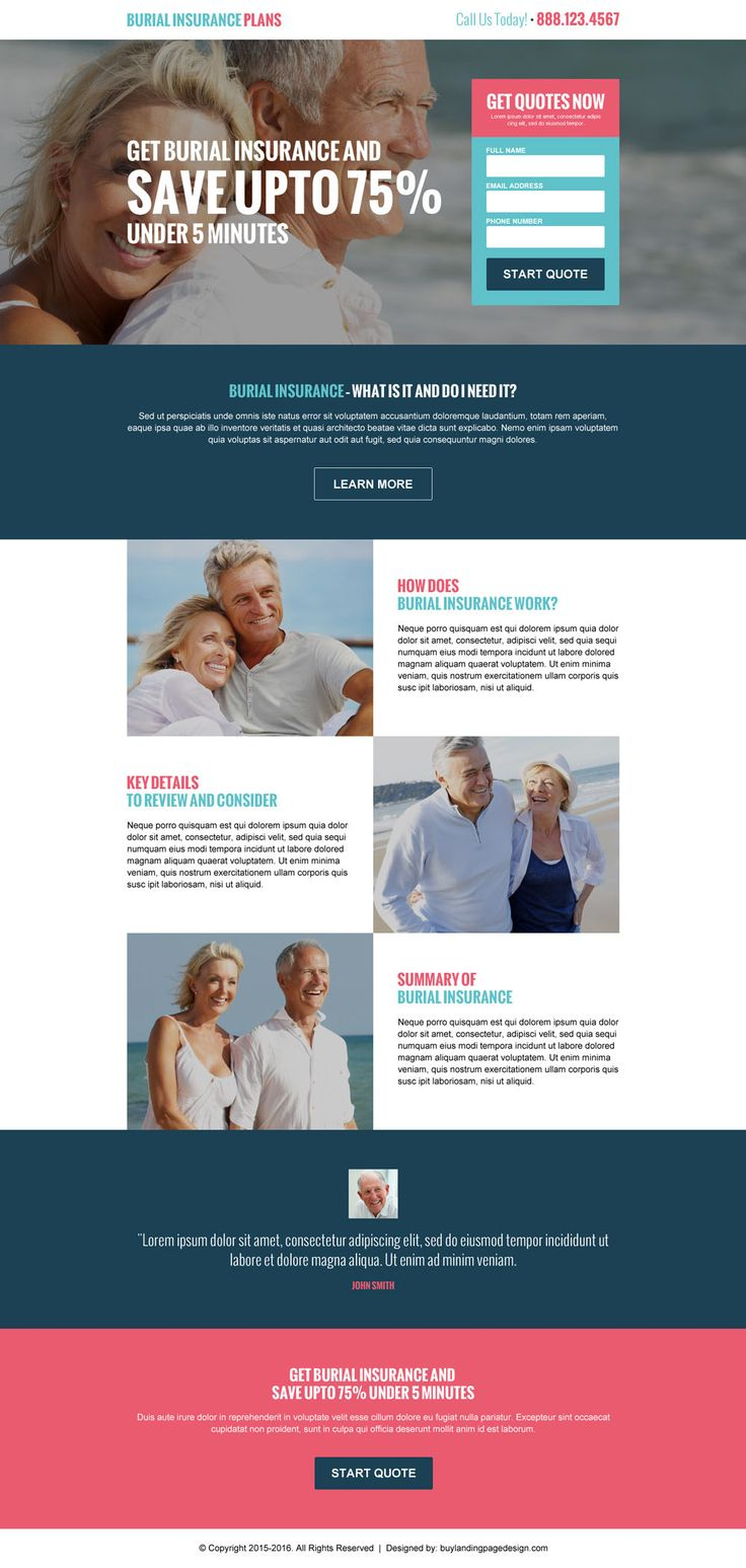 converting burial insurance plans responsive landing page design