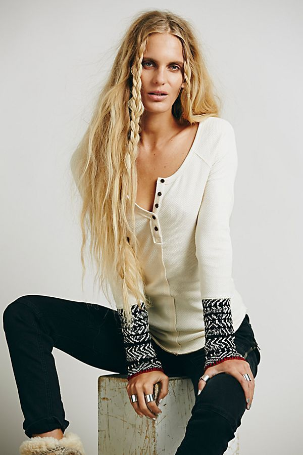 FREE PEOPLE ALPINE CUFF WAFFLE KNIT HENLEY BUTTON UP THERMAL TOP  SHIRT~IVORY~XS   FreePeople  ThermalTop  freepeoplethermalcuff a27d7f7b2