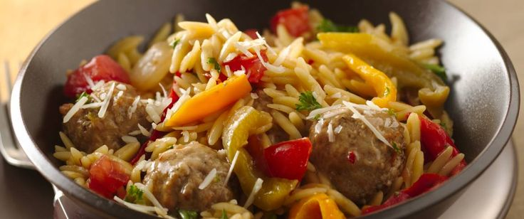 Skillet dinner in just 30 minutes? Try this hearty dish that gets a jump start from frozen meatballs. Save money on groceries and use Freezer-Friendly Turkey Meatballs in place of store-bought frozen ones!