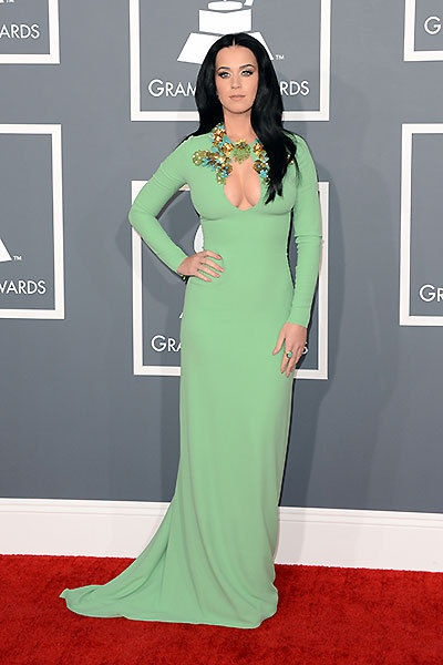 Katy Perry and her clevage were on full display in this seaform embellished keyhole-cutout gown by Gucci.