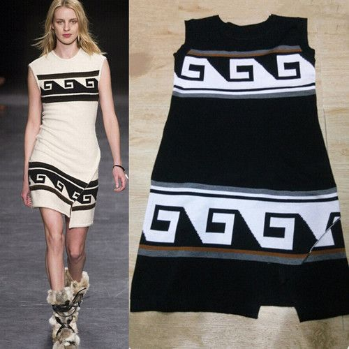 Big Catwalk Models ALU Women Dress Contracted Geometric Slit The Same Paragraph Sleeveless Knitted Dresses