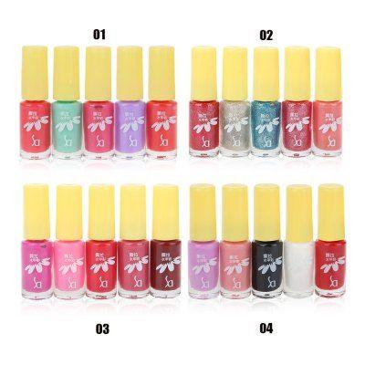SD 5pcs / Set Peeled Friendly Water-based Nail Polish Kit Multi Colors Non-toxic Tearing Gel Makeup