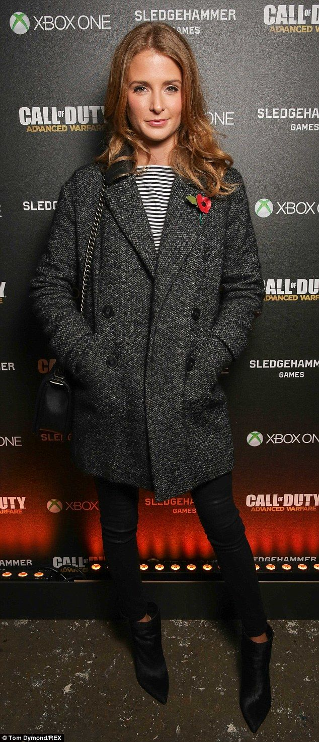 Keeping it casual: The 25-year-old wore a tweed jacket with a striped top, jeans and ankle boots
