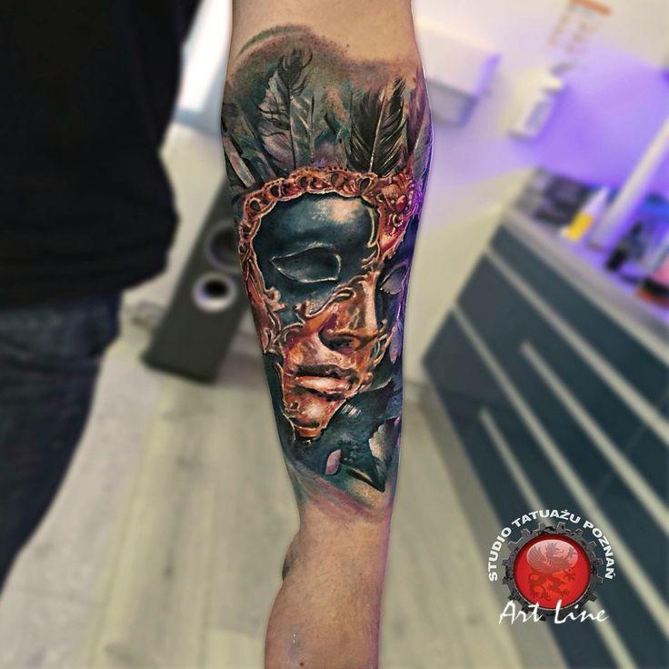 Mask Tattoo. Artist Dominik Szymkowiak. Artline studio. www.arttattoo.pl