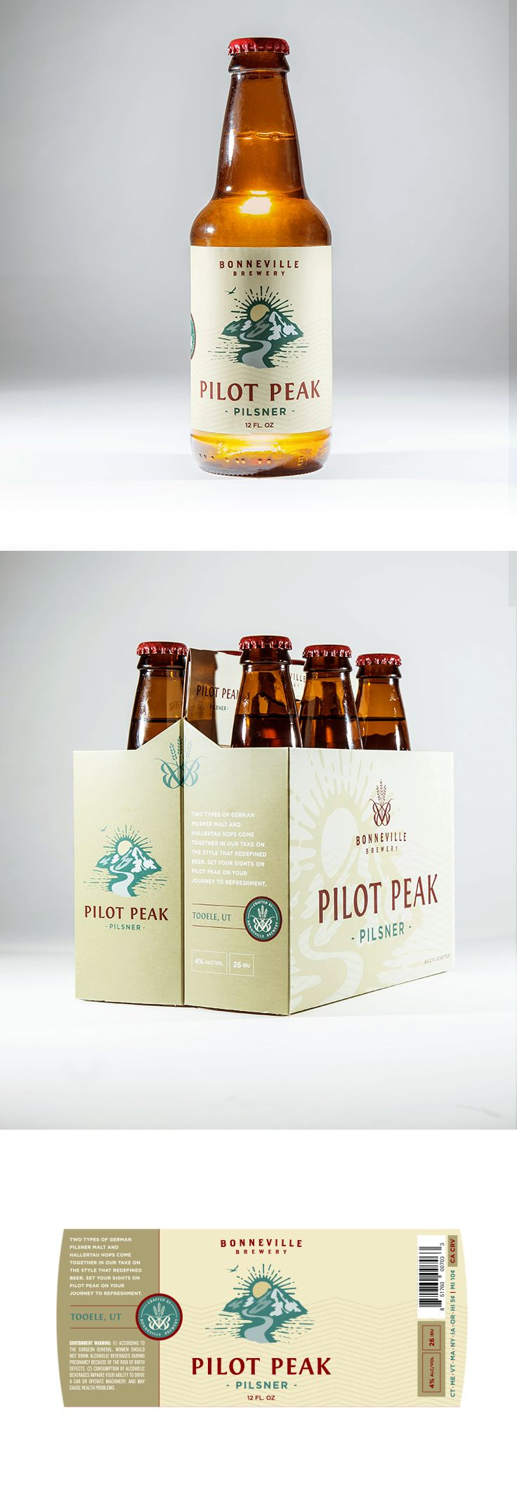 Pilot Peak Label and Box design by Epic Marketing for Bonneville Brewery. #packagingdesing #graphicdesing #labeldesign #beer #beerlabel