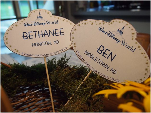 Great DIY idea for on incorporating Disney into a multi-purpose wedding favor/place cards!!