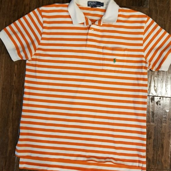Shop Men's Ralph Lauren Orange White size L Polos at a discounted price at Poshmark. Description: Excellent pre owned condition. From a non smoking home.. Sold by booth33. Fast delivery, full service customer support.