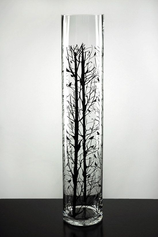 24 Quot Bird Amp Branch Silhouette Glass Cylinder Vase Trees Chang E 3 And The Birds