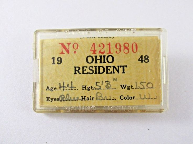 Ohio Resident Fishing License 1948 #Unbranded