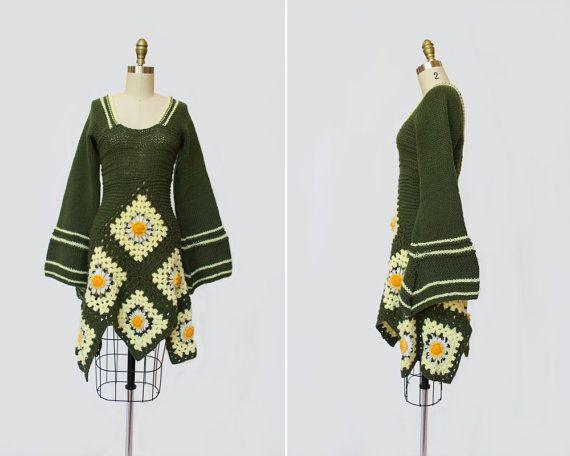 années 1960 grand-mère carré au Crochet robe par SadieLouVintage