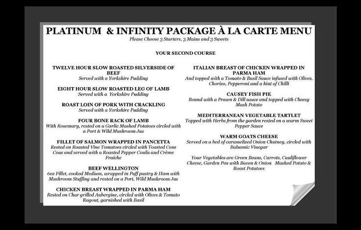 Platinum & Infinity Wedding Breakfast Menus | South Causey Inn