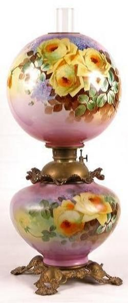 lighting, America, A large 19th Century Gone with the Wind lamp. Base and ball shade, hand painted large yellow roses on lavender background, excellent cast open design base abd font rim poppy design. Circa 1801-1899