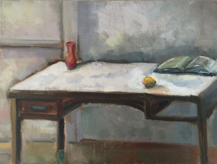 Desk with lemon Oil on board 30 x 40.5cm