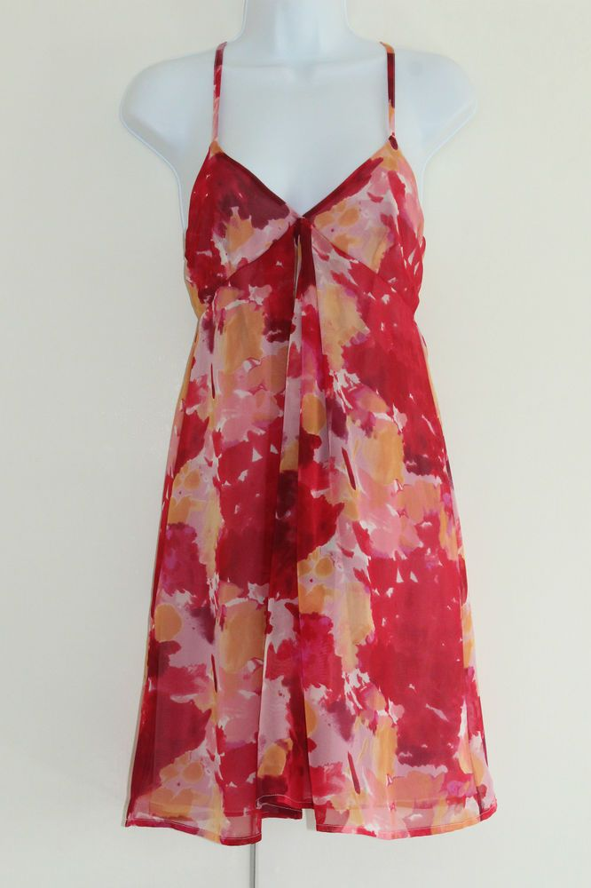 JOHNNY MARTIN Floaty Red Dress Size 7 Armpit seam to seam 17 inches Across VGC