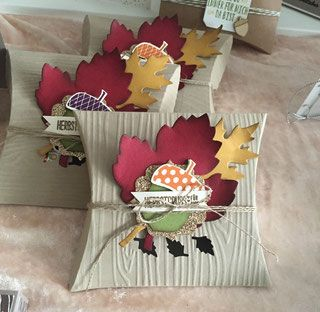 Square Pillow Box die, Acorn punch and leaf die. Cute fall favor packaging!