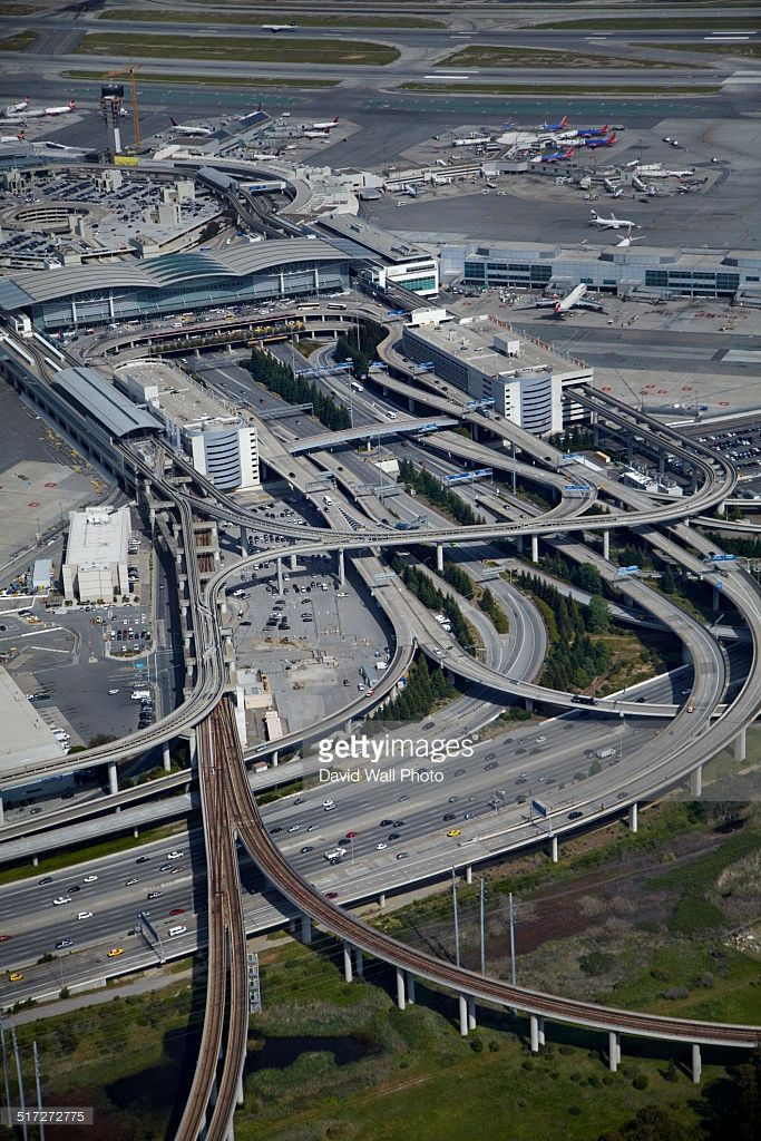 Interchange at San Francisco Airport - photo by David Wall / Getty Images;  San Francisco Airport has a tram that circles the airport grounds to shuttle people to parking and rental cars.