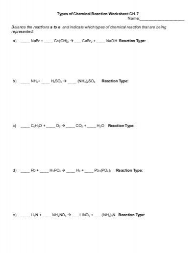 Six Types Of Chemical Reaction Worksheet Reaction Types