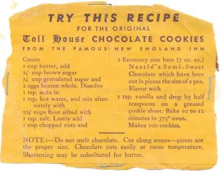 ABSOLUTELY ORIGINAL TOLL HOUSE CHOCOLATE COOKIES Recipe