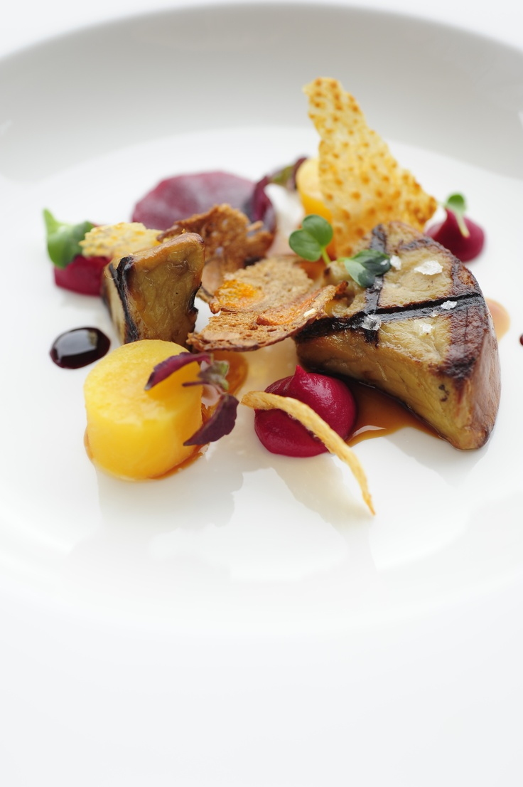 Grilled Foie Gras, Beets, Chicken Skin and Fruit Bread
