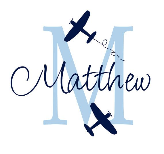 """Airplane Wall Decal Initial and Name Custom Vinyl Wall Decal for Boy Baby Nursery or Boys Room 22""""H x 24""""W Wall Art FS107 on Etsy, $39.00"""