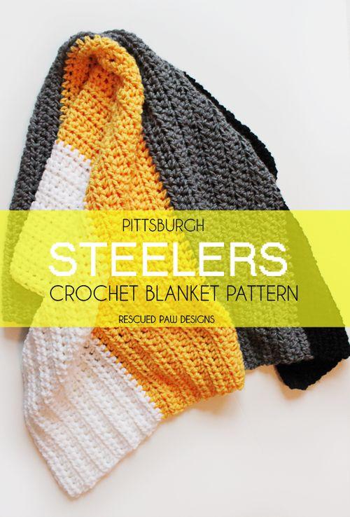 Steelers Crochet Throw Blanket {FREE PATTERN} :: Rescued Paw Designs