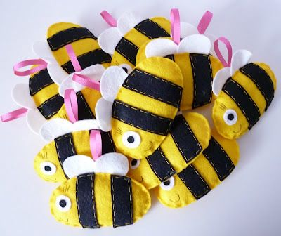 Felt bee ornaments/ decorations