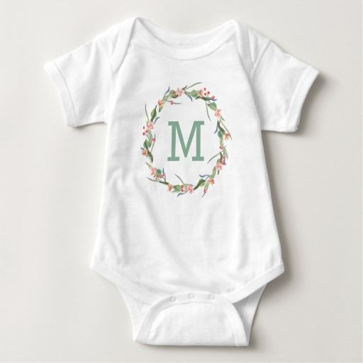 Rose Wreath | Green Monogram Baby Bodysuit
