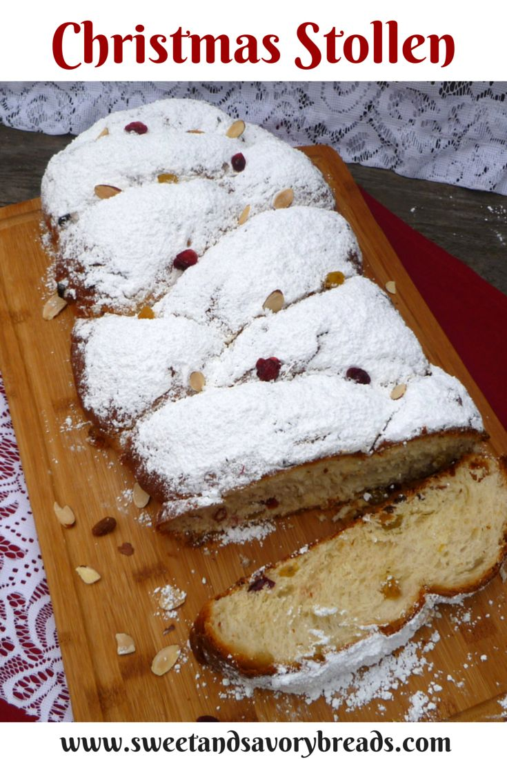 This fruity Christmas Stollen recipe gets its start in the bread machine for ease and finishes with a traditional rise and bake in the oven. www.sweetandsavorybreads.com #holiday #Christmas #bread