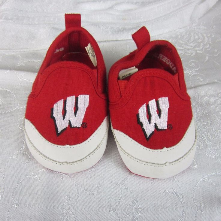Wisconsin Badgers Fabric Infant Toddler Baby Booties Red Shoes Size 3 #Unbranded