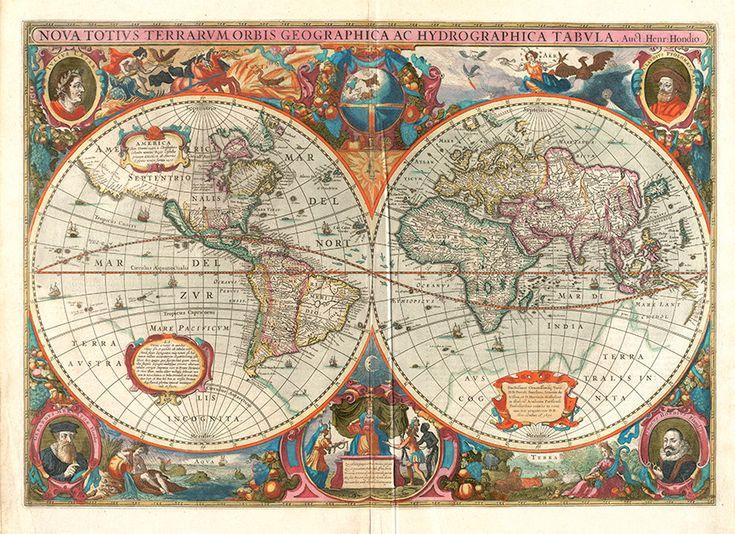 Karte der Welt im Jahre 1630 von Hendrik von RetroPrintmaker