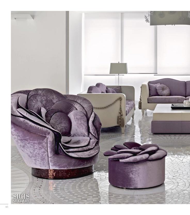 Sicis velvet chair and ottoman