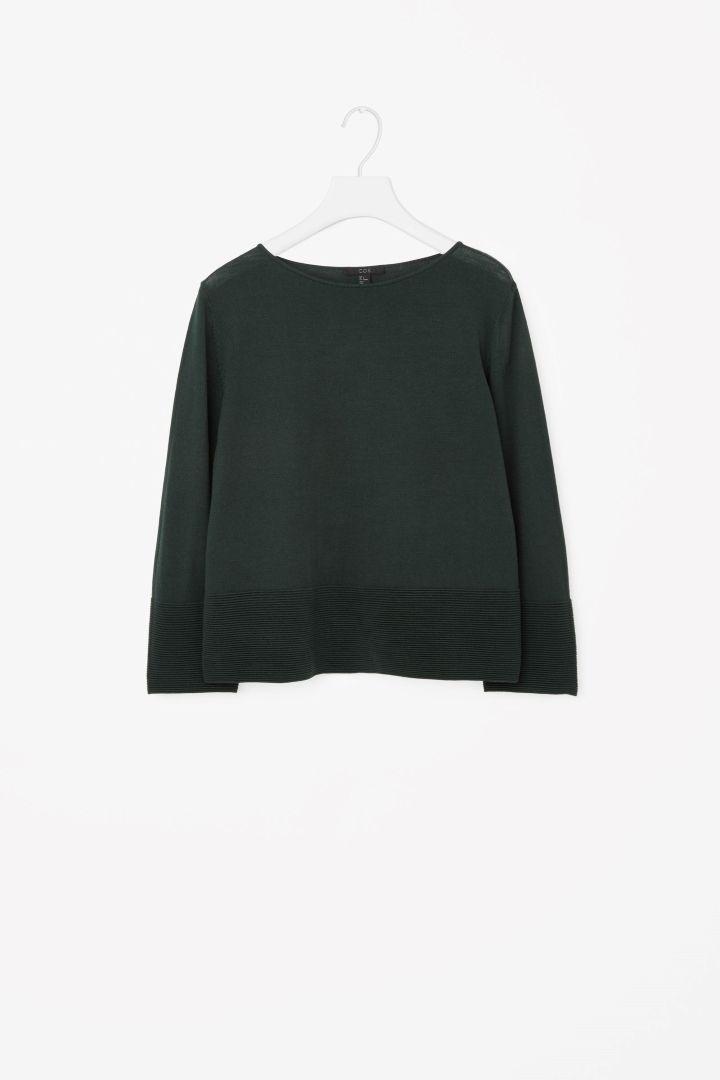 Ribbed panel jumper - Green - Knitwear - COS GB
