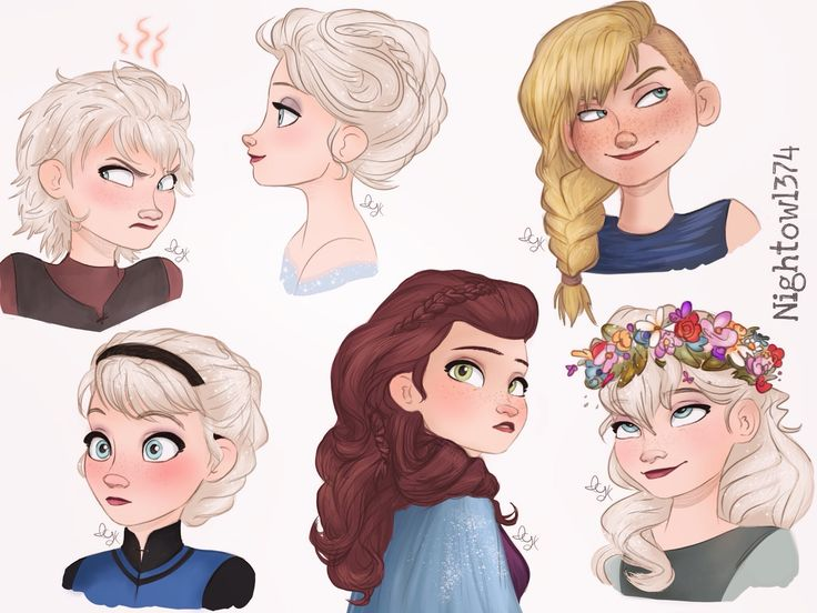 Elsa AU hairdos (Including an Astrid one)