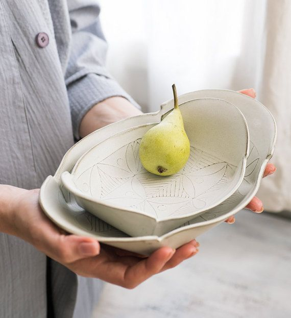 White Ceramic Plate Set , ceramic serving  set, Ceramic nesting set ,white serving dish , leaf pattern trays , decorative Serving platters.