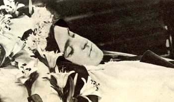 St Therese's exposed body after her death